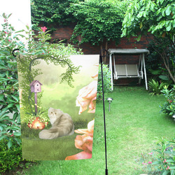 Cute cat in a garden Garden Flag 12''x18''(Without Flagpole)