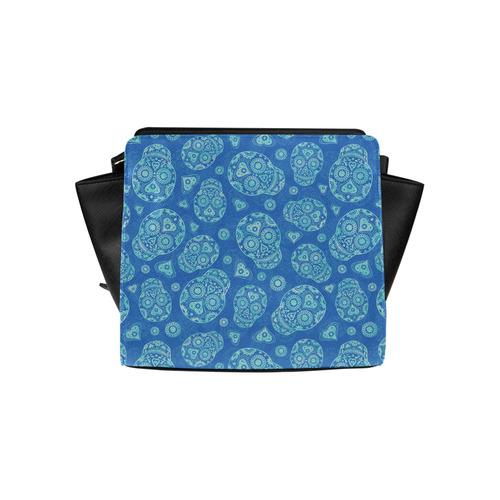 Sugar Skull Pattern - Blue Satchel Bag (Model 1635)