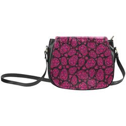 Sugar Skull Pattern - Pink Classic Saddle Bag/Small (Model 1648)