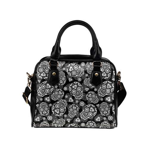 Sugar Skull Pattern - Black and White Shoulder Handbag (Model 1634)