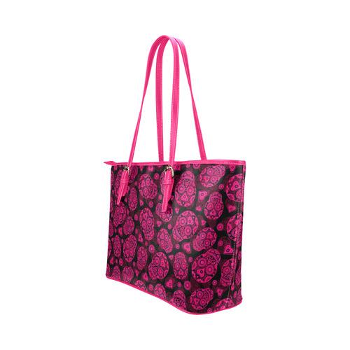 Sugar Skull Pattern - Pink Leather Tote Bag/Large (Model 1651)