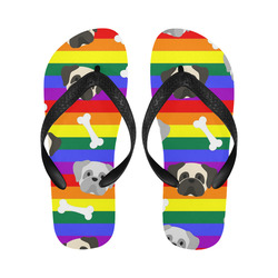 Gay Pride Pugs Flip Flops for Men/Women (Model 040)