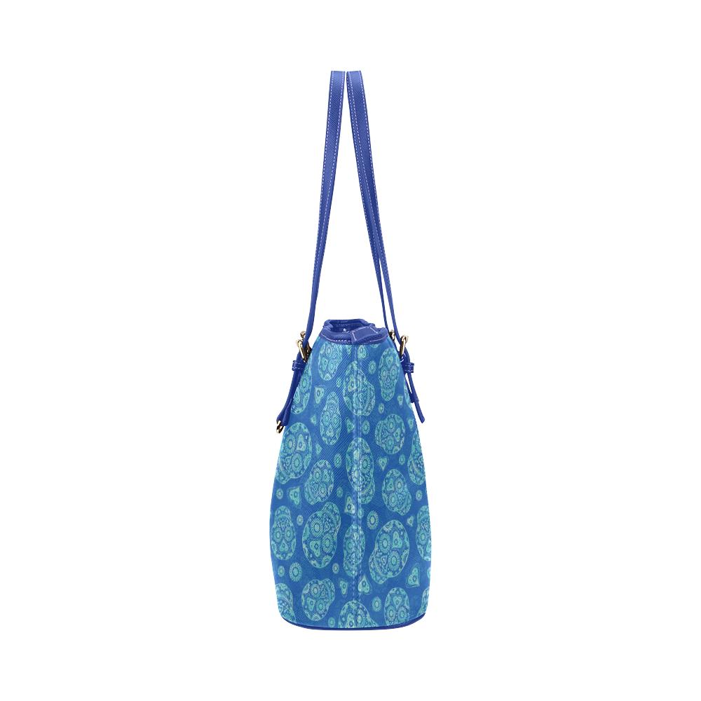 Sugar Skull Pattern - Blue Leather Tote Bag/Large (Model 1651)