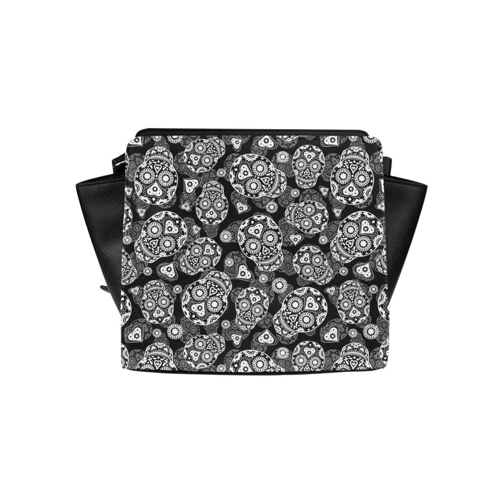Sugar Skull Pattern - Black and White Satchel Bag (Model 1635)