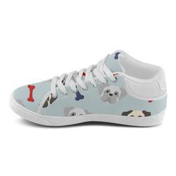 Patriotic Pugs on Light Blue Women's Chukka Canvas Shoes (Model 003)