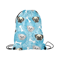 "Pugs on Blue Tie Dye Large Drawstring Bag Model 1604 (Twin Sides)  16.5""(W) * 19.3""(H)"