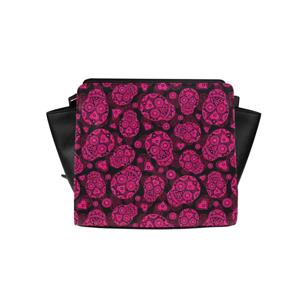 Sugar Skull Pattern - Pink Satchel Bag (Model 1635)