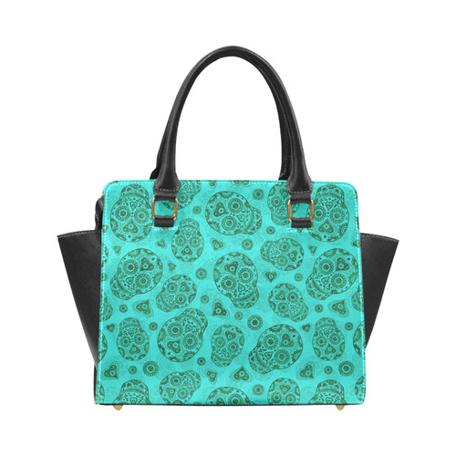 Sugar Skull Pattern - Teal Rivet Shoulder Handbag (Model 1645)