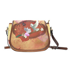 Wonderful dove couple Saddle Bag/Small (Model 1649) Full Customization