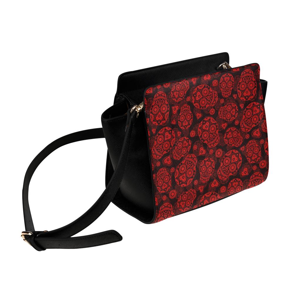 Sugar Skull Pattern - Red Satchel Bag (Model 1635)