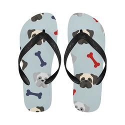 Patriotic Pugs on Light Blue Flip Flops for Men/Women (Model 040)