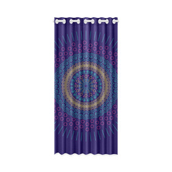 "blue mandala circular New Window Curtain 50"" x 108""(One Piece)"