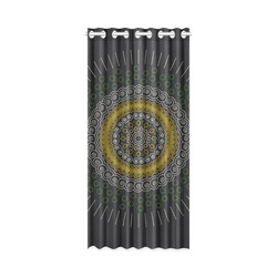 "green with yellow mandala circular New Window Curtain 50"" x 108""(One Piece)"