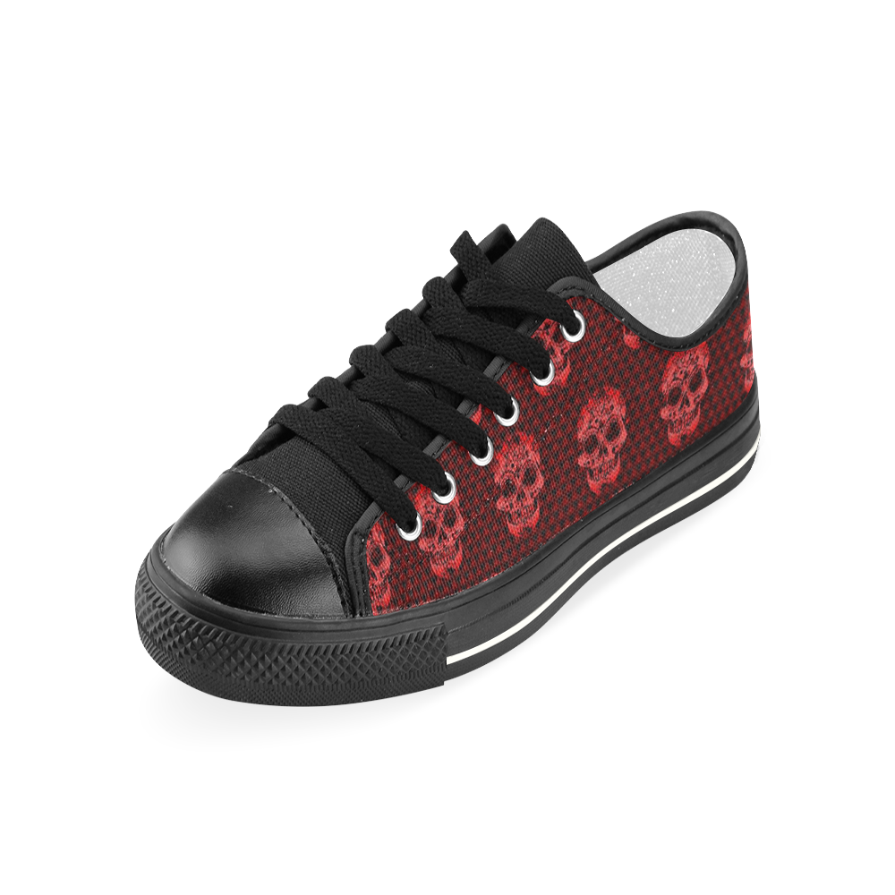 Skull pattern 517 A by JamColors Women's Classic Canvas Shoes (Model 018)