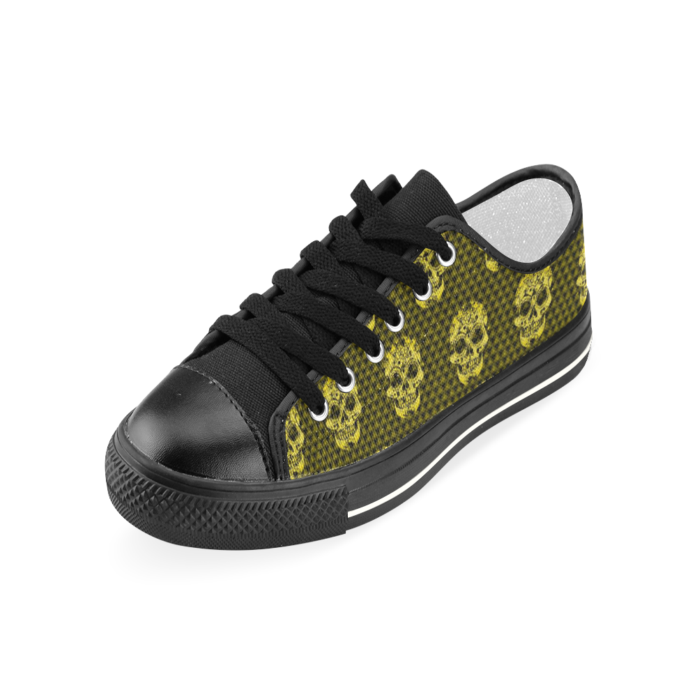 Skull pattern 517 C by JamColors Women's Classic Canvas Shoes (Model 018)