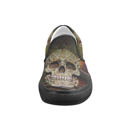 Funny Skull and Book Slip-on Canvas Shoes for Kid (Model 019)
