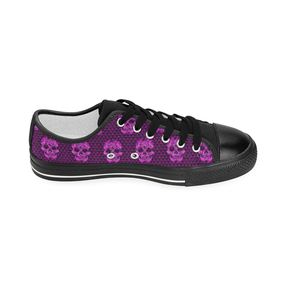 Skull pattern 517 B by JamColors Women's Classic Canvas Shoes (Model 018)