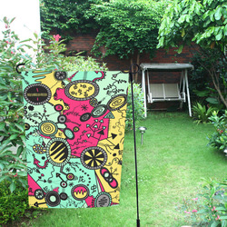 Comic Doodle Illustration in Colour Garden Flag 12''x18''(Without Flagpole)