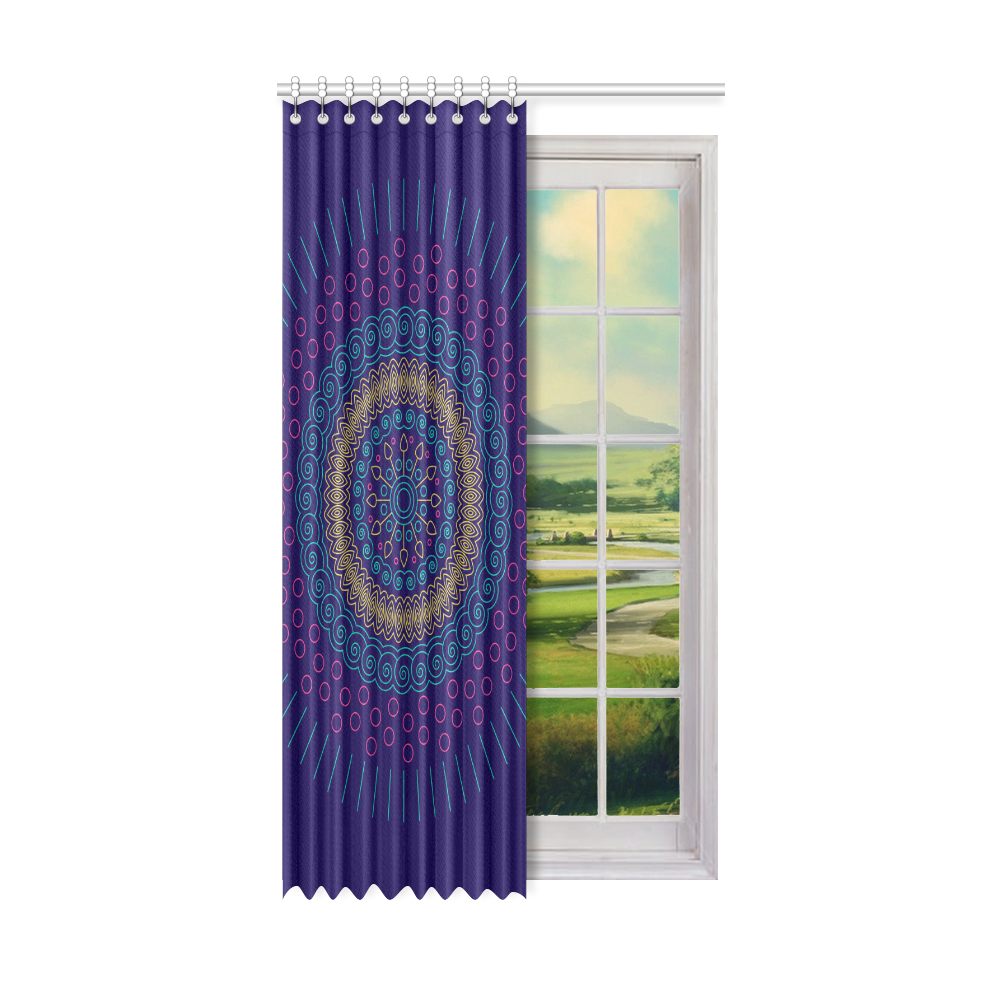 "blue mandala circular Window Curtain 52"" x96""(One Piece)"