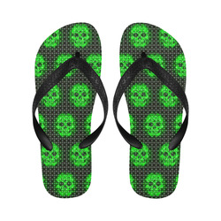 skulls and dotts, green by JamColors Flip Flops for Men/Women (Model 040)