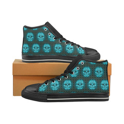 skulls and dotts,aqua by JamColors Women's Classic High Top Canvas Shoes (Model 017)