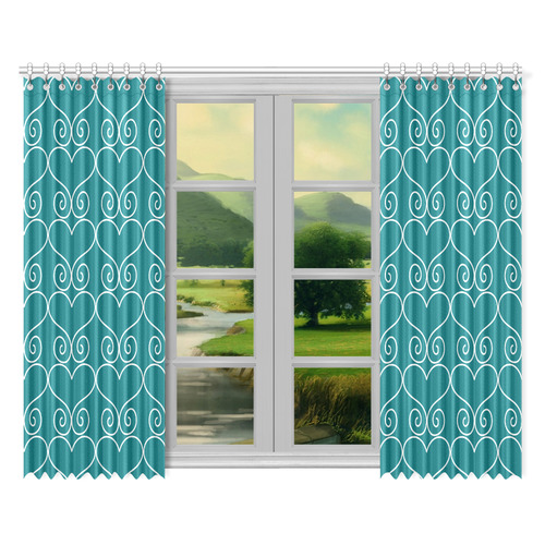 """Hearts n Swirls Teal Green Window Curtain 52""""x84""""(Two Pieces)"""