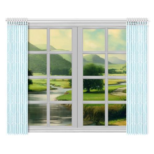 "Hearts n Swirls Ice Blue Window Curtain 52""x84""(Two Pieces)"