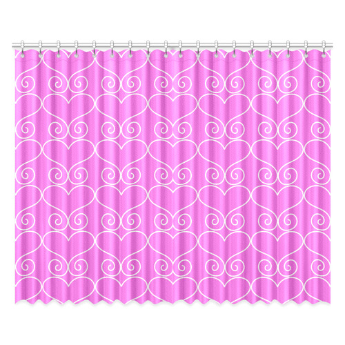 """Hearts n Swirls Pink Window Curtain 52""""x84""""(Two Pieces)"""