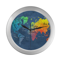 world map 30 Silver Color Wall Clock