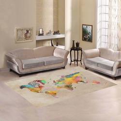 world map 17 Area Rug7'x5'
