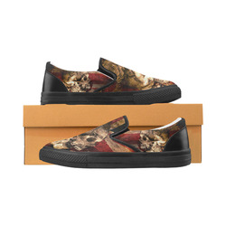 Grunge Skull and British Flag Men's Slip-on Canvas Shoes (Model 019)