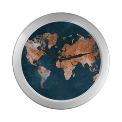 world map Silver Color Wall Clock