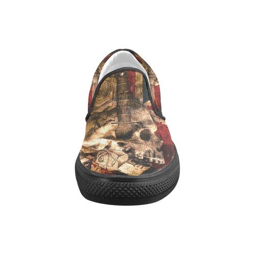 Grunge Skull and British Flag Men's Slip-on Canvas Shoes (Model 019)