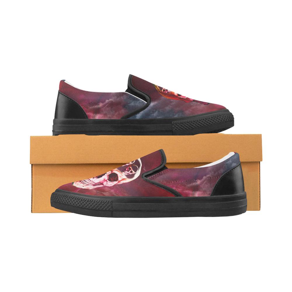 Funny Skulls Men's Slip-on Canvas Shoes (Model 019)