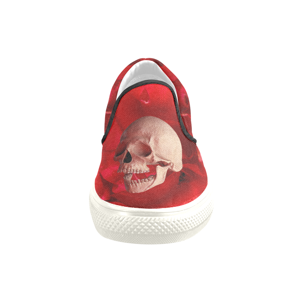 Funny Skull and Red Rose Men's Slip-on Canvas Shoes (Model 019)