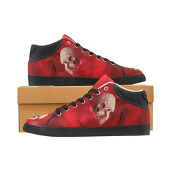 Funny Skull and Red Rose Men's Chukka Canvas Shoes (Model 003)