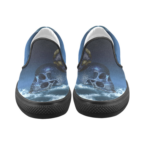 Skull and Moon Men's Slip-on Canvas Shoes (Model 019)
