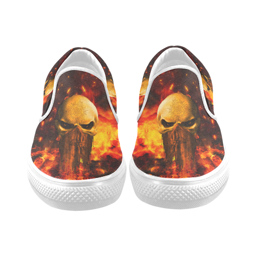 Amazing skull with fire Women's Slip-on Canvas Shoes (Model 019)
