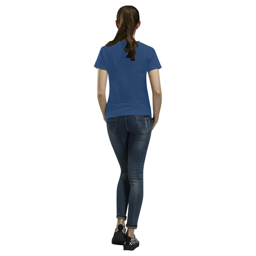 navy blue All Over Print T-Shirt for Women (USA Size) (Model T40)