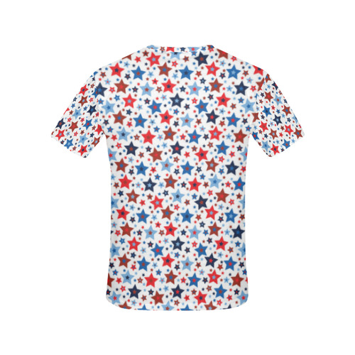 stars red blue white All Over Print T-Shirt for Women (USA Size) (Model T40)
