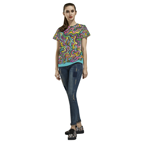 Colorful Tidal Pool, abstract animals, blue All Over Print T-Shirt for Women (USA Size) (Model T40)