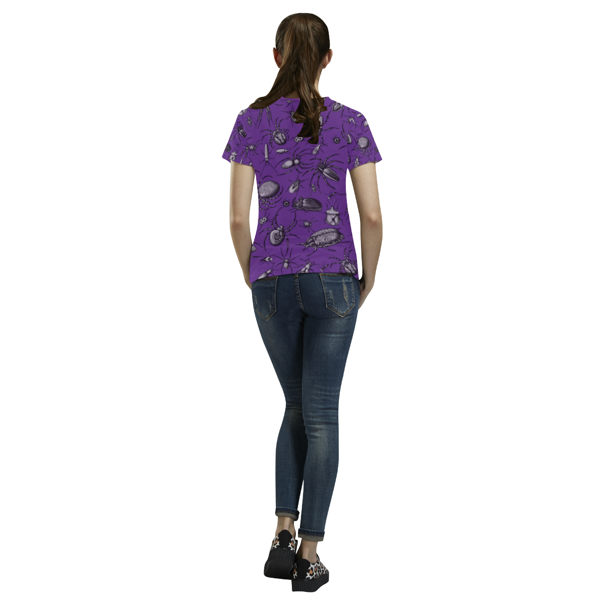 spiders creepy crawlers insects purple halloween All Over Print T-Shirt for Women (USA Size) (Model T40)