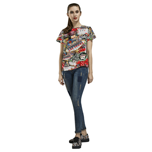 Las Vegas Icons - Gamblers Delight All Over Print T-Shirt for Women (USA Size) (Model T40)