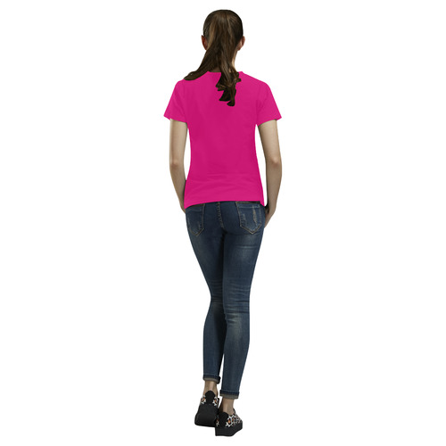 Hot Pink All Over Print T-Shirt for Women (USA Size) (Model T40)