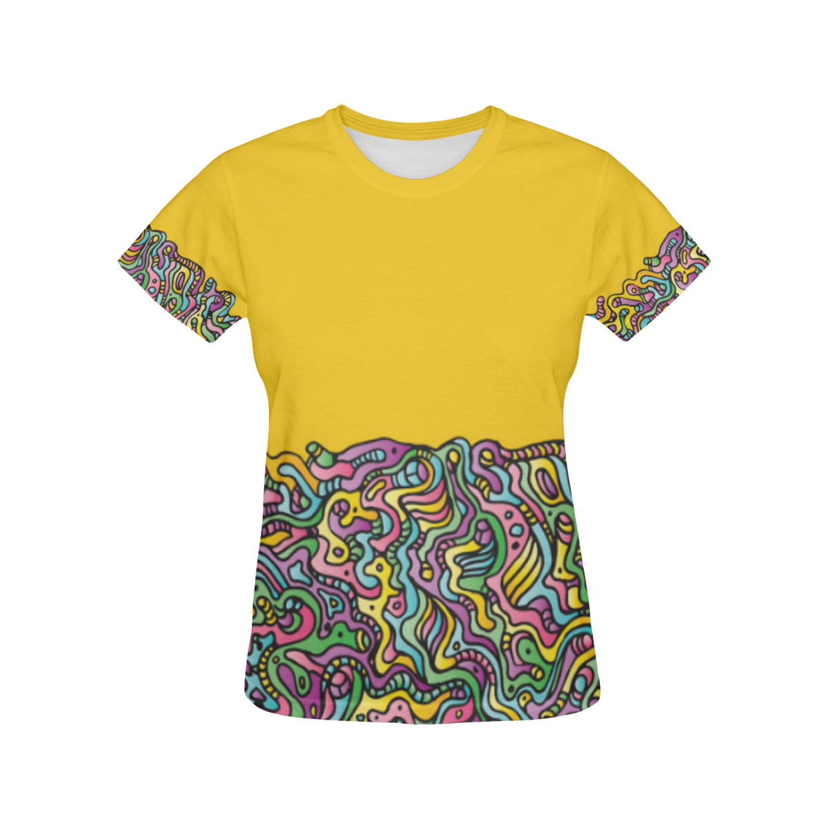 Colorful Tidal Pool, abstract animals, yellow All Over Print T-Shirt for Women (USA Size) (Model T40)