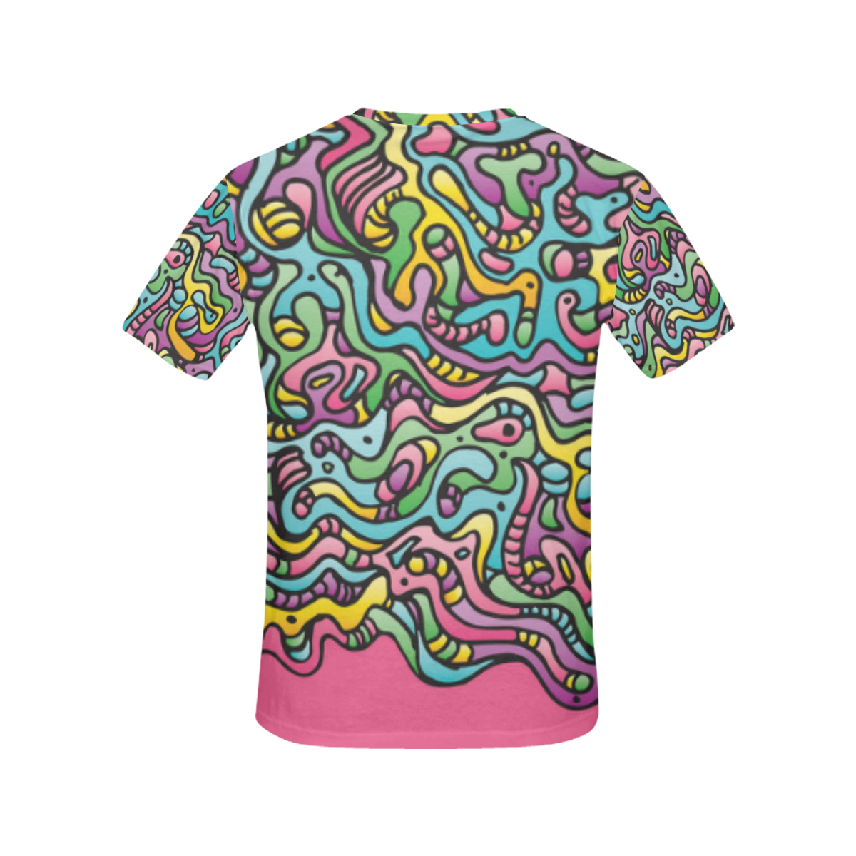 Colorful Tidal Pool, abstract animals, pink All Over Print T-Shirt for Women (USA Size) (Model T40)