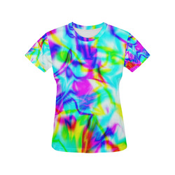 tropical ink blue yellow purple pattern ZT03 All Over Print T-Shirt for Women (USA Size) (Model T40)