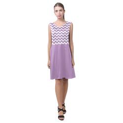 Lilac Purple zigzag chevron pattern Chryseis Sleeveless Pleated Dress(Model D07)
