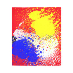 """Primary Colors Watercolor Spatter Red Blue Yellow Cotton Linen Wall Tapestry 51""""x 60"""""""
