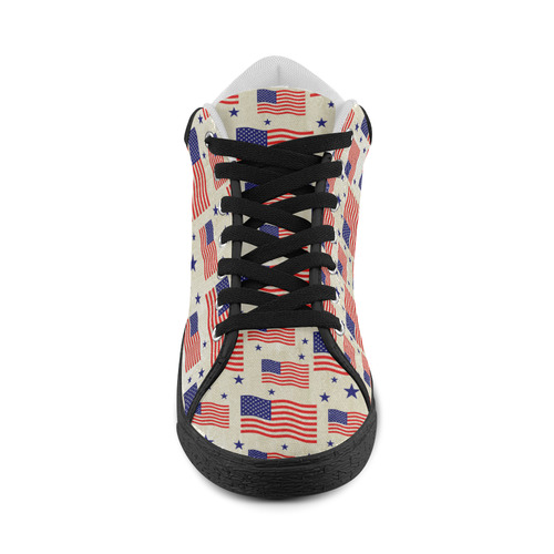 Flag Of The USA grungy style Pattern Women's Chukka Canvas Shoes (Model 003)